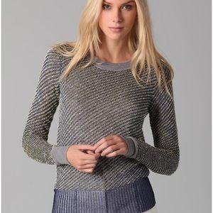 Alexander Wang metallic boucle and mesh sweater
